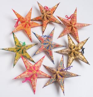 HANDMADE PAPER STARS PAISLEY PRINT – PACK OF 8